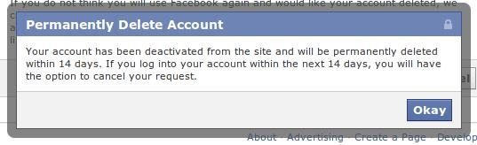 delete cont facebook
