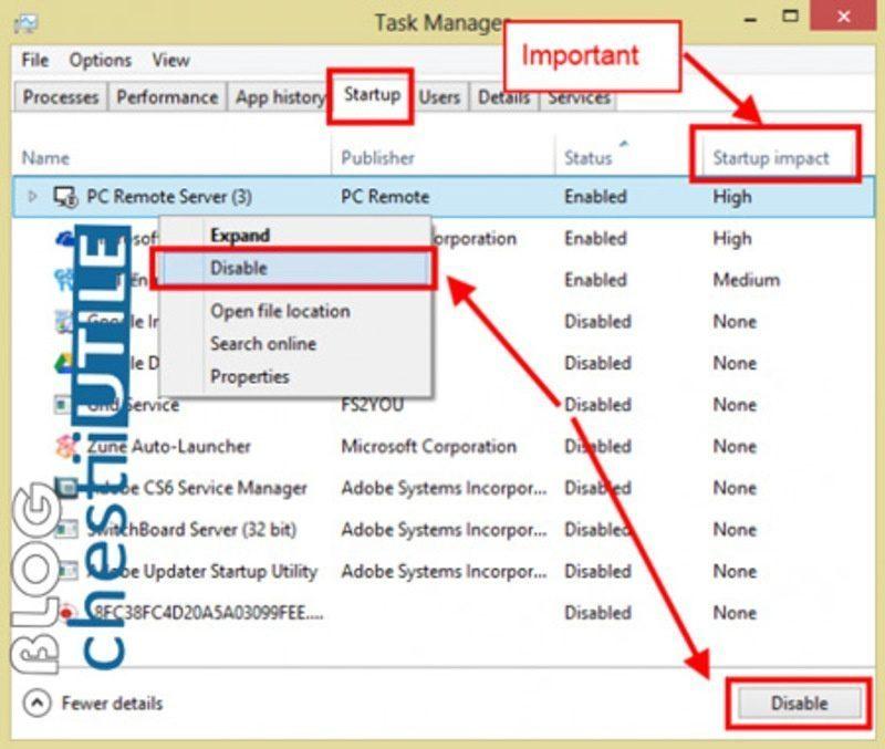 sterge aplicatii start up windows 8